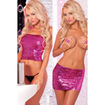 2-in-1 Glitter tube top en rok (roze)