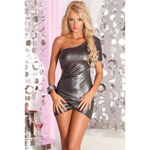 Ignition ruched club dress silver