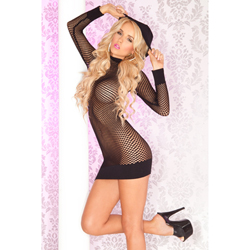 Seamless fishnet hoodie dress