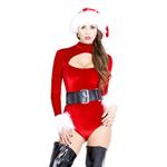 Fluwelen Rode Bodysuit Kerstmis