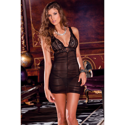 Ruched chemise and G-string set