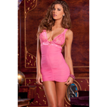 Pink Ruched chemise and G-string set