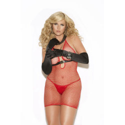 Fence Net Mini Dress Red
