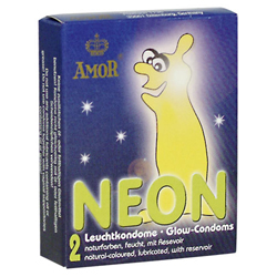 AMOR Neon Glow in the Dark Condooms - 2 stuks