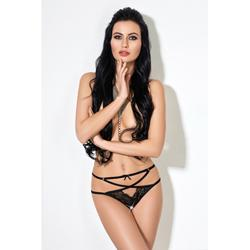 Crotchless Straps Panties With Lace - Black
