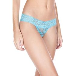 Crotchless Lace Thong with Bow - Turquoise -2