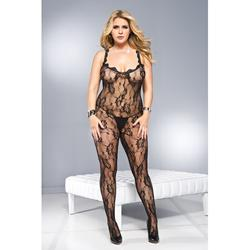 Plus Size Crotchless Catsuit With Frills -2