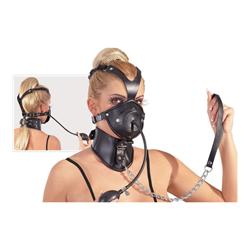 Leren masker met dildo