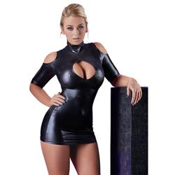 Wetlook-Minikleid schulterfrei