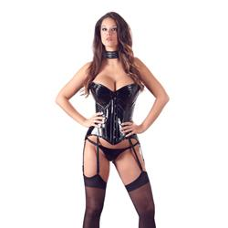 Strapless Vinyl Corset With Garters