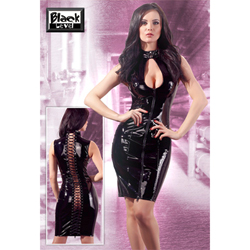 Black Lacquer Dress with 2-way zipper