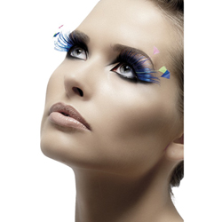 Eyelashes Blue with Feather Plumes Contains Glue
