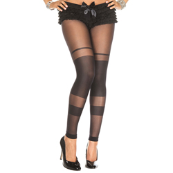 Semi transparent spandex leggings BLACK