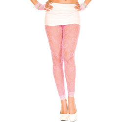 Lace Leggings With Floral Design - Pink