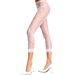 Lace Leggings With Floral Design - White