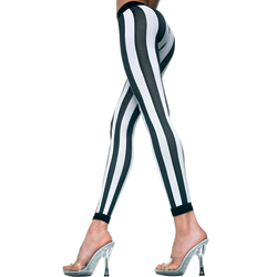Vertical Striped Leggings - Black/White