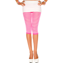 Striped Leggings - Pink/White