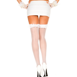 Backseam lace ruffle sheer thigh hi WHITE