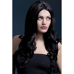 Fever Rhianne Wig 26inch/66cm Black Long Soft Curl with Centre Parting