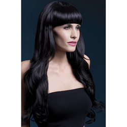 Fever Yasmin Wig 28inch/71cm Black Long Loose Curls with Fringe