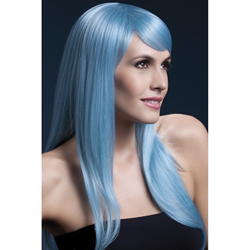 Fever Sienna Wig 26inch/66cm Pastel Blue Long Feathered with Fringe
