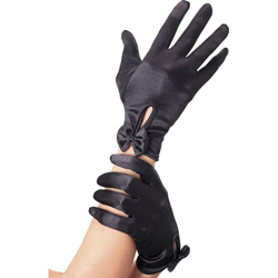 Gloves Short Black with Bow