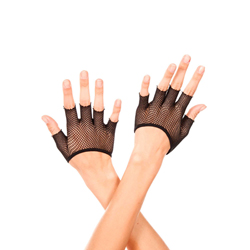 Short fishnet fingerless gloves BLACK
