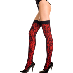 Stockings With Lace And Floral Design -Red