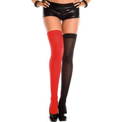 Jester Mismatch Stockings - Black/Red