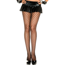 Tights with Fishnet Print - Black