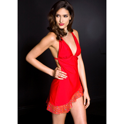 Halter neck mini dress with O-ring RED