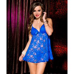 Floral lace chemise with satin hem and bow BLUE
