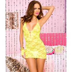 Halter lace mini dress NEONYELLOW