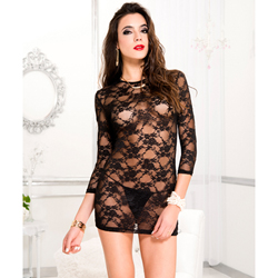 Long sleeve lace dress with g-string BLACK