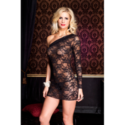 Lace asymmetrical mini dress BLACK