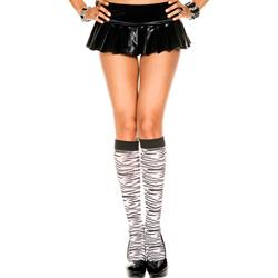 Knee High Stockings With Zebra Print - Black/White