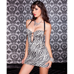 Underwire Halter Dress With Zebra Print