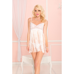 Spaghetti strap fringed mini dress with lace bust