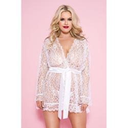 Plus Size Floral Face Robe - White -2