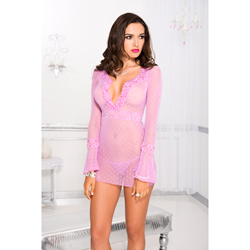 Mesh Dress With Lace - Pink