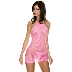 Music Legs Mini Halter Dress - Neon Pink