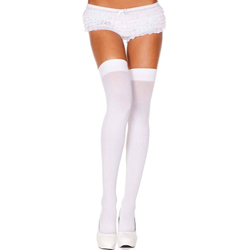 Nylon Thigh Highs - White