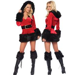 Velvet Santa Dress Red - Black