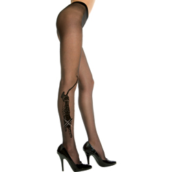 Sheer pantyhose with tiger design