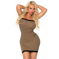 Striped strapless dress - skin colour/black