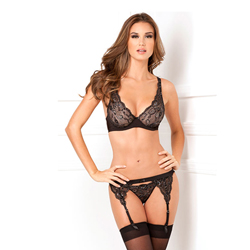 3pc lux lace lurex garter and thong set