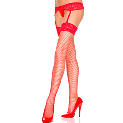 Lace top diamond net stockings and lace garterbelt RED