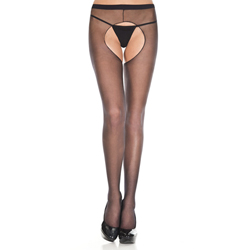 Sheer crotchless pantyhose BLACK