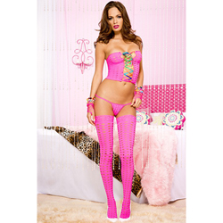 Top With G-String And Stockings - Pink