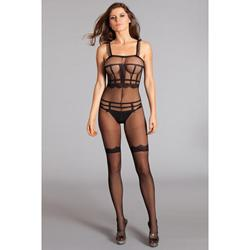 Crotchless Catsuit With Top, Briefs And Stockings Print -2